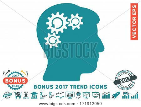 Soft Blue Mind Gear Rotation pictograph with bonus 2017 year trend pictures. Vector illustration style is flat iconic bicolor symbols white background.