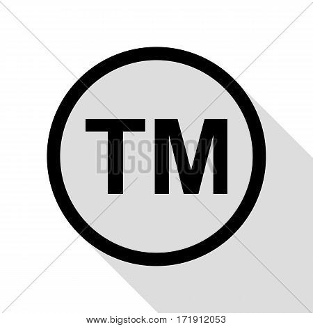 Trade mark sign. Black icon with flat style shadow path.