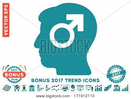 Soft Blue Mind Potency pictogram with bonus 2017 trend pictures. Vector illustration style is flat iconic bicolor symbols white background.