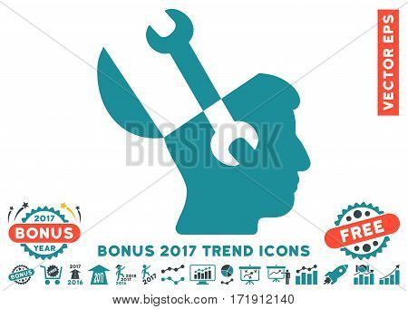 Soft Blue Mind Wrench Tools pictograph with bonus 2017 year trend icon set. Vector illustration style is flat iconic bicolor symbols white background.