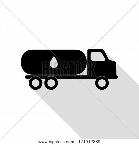 Car transports Oil sign. Black icon with flat style shadow path.