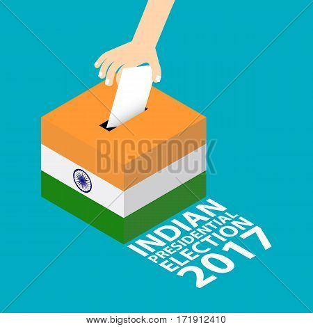 India Presidential Election 2017 Vector Illustration Flat Style - Hand Putting Voting Paper in the Ballot Box