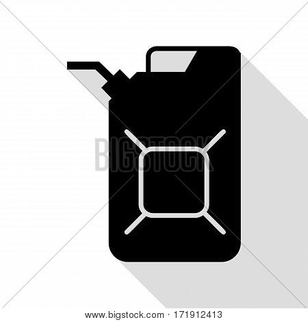 Jerrycan oil sign. Jerry can oil sign. Black icon with flat style shadow path.