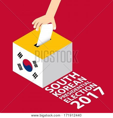 South Korean Presidential Election 2017 Vector Illustration Flat Style - Hand Putting Voting Paper in the Ballot Box