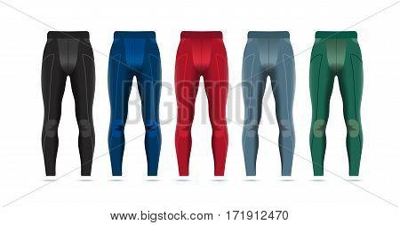 Vector illustration of fitness leggings for men. Realistic illustration of pants for summer sports.