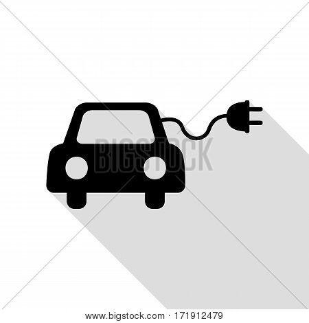 Eco electric car sign. Black icon with flat style shadow path.