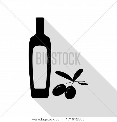 Black olives branch with olive oil bottle sign. Black icon with flat style shadow path.