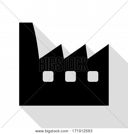Factory sign illustration. Black icon with flat style shadow path.