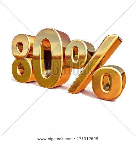 3d render: Gold 80 Percent Off Discount Sign