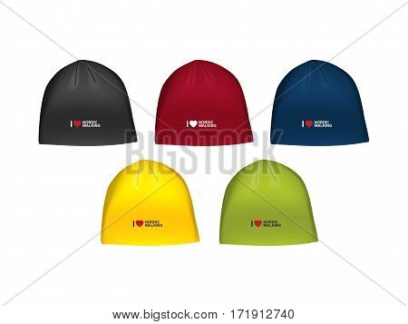 Vector illustration of winter sport hat for men. Realistic illustration sport cap for winter sports.