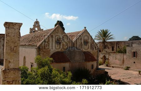 Holy Arkadi Monastery, Crete Moni Arkadiou building, old architecture monument