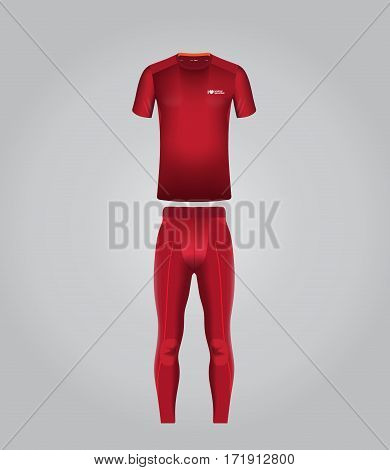 Vector illustration of summer sports clothing for men. Realistic illustration of suit for summer sports.