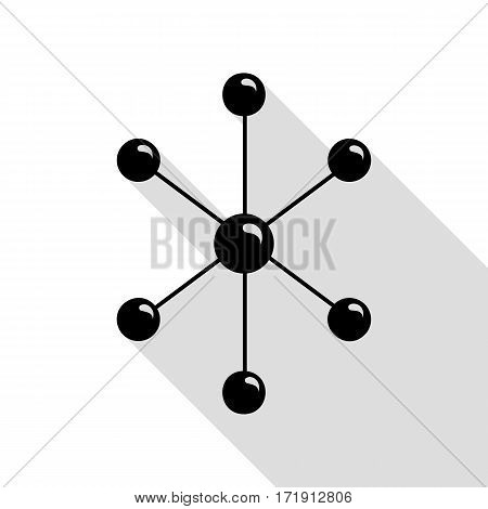 Molecule sign illustration. Black icon with flat style shadow path.