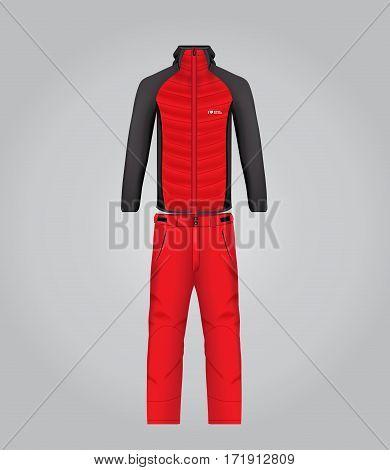 Vector illustration of winter sports clothing for men. Realistic illustration of suit for winter sports