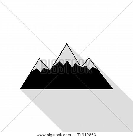 Mountain sign illustration. Black icon with flat style shadow path.