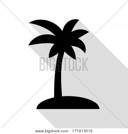 Coconut palm tree sign. Black icon with flat style shadow path.