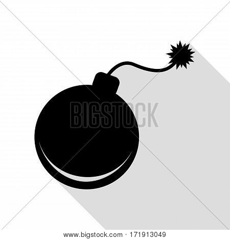 Bomb sign illustration. Black icon with flat style shadow path.