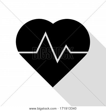 Heartbeat sign illustration. Black icon with flat style shadow path.