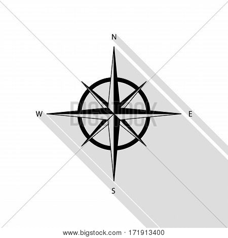 Wind rose sign. Black icon with flat style shadow path.