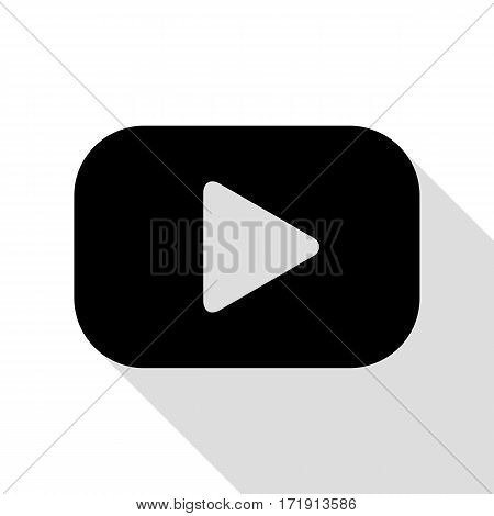 Play button sign. Black icon with flat style shadow path.