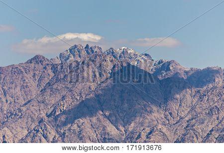 Winter in mountains surrounding the African Rift near Aqaba city, Jordan