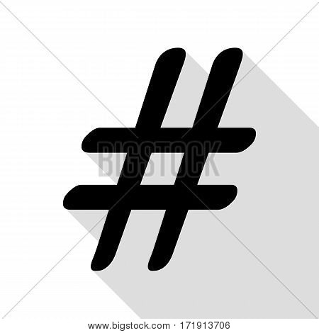Hashtag sign illustration. Black icon with flat style shadow path.