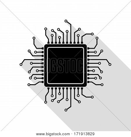 CPU Microprocessor illustration. Black icon with flat style shadow path.