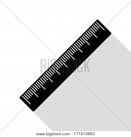 Centimeter ruler sign. Black icon with flat style shadow path.