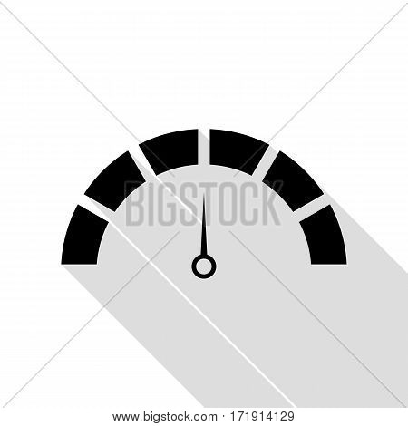 Speedometer sign illustration. Black icon with flat style shadow path.