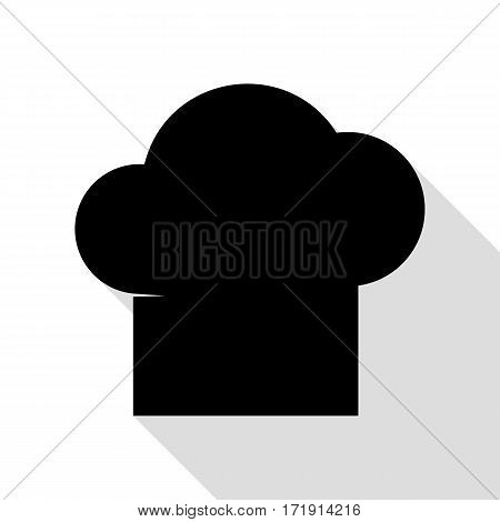 Chef cap sign. Black icon with flat style shadow path.