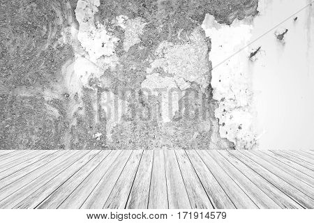 Metal Rust Wall Texture Surface With Wood Terrace And World Map