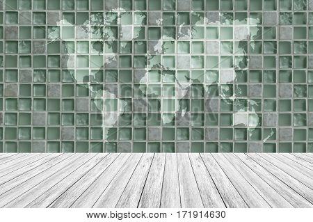 Wall Texture Surface With Wood Terrace And World Map