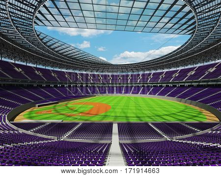 3D Render Of Baseball Stadium With Purple Seats And Vip Boxes
