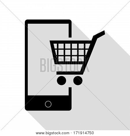 Shopping on smart phone sign. Black icon with flat style shadow path.