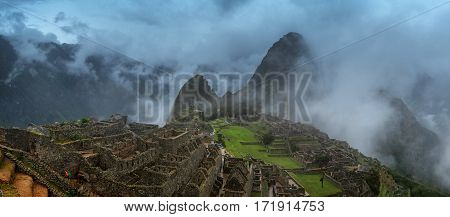 Panorama of Machu Picchu, lost city of the Incas, designated Peruvian Historical Sanctuary in 1981 and UNESCO World Heritage Site in 1983 and one of the New Seven Wonders of the World
