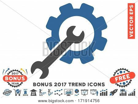 Cobalt And Gray Setup Tools pictograph with bonus 2017 trend pictures. Vector illustration style is flat iconic bicolor symbols white background.