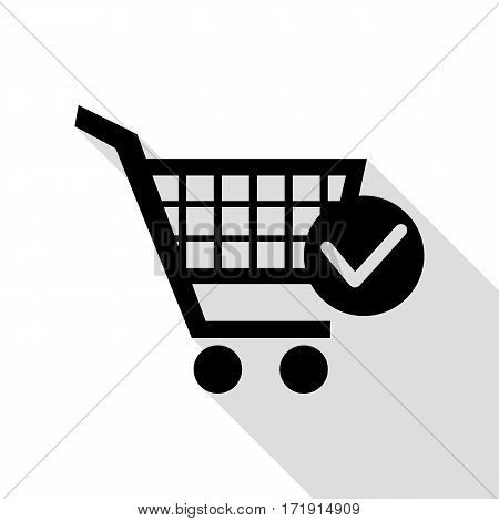 Shopping Cart with Check Mark sign. Black icon with flat style shadow path.