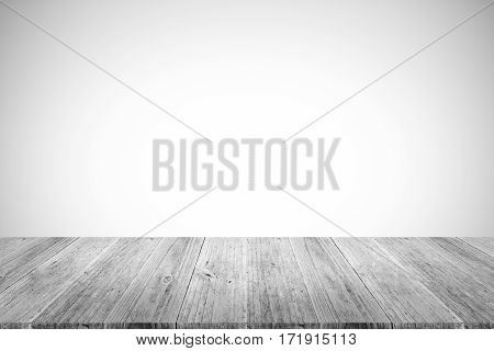 Wall Texture Background , Process In White Color With Wood Terrace