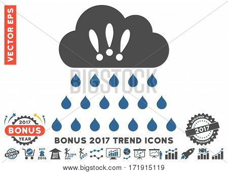 Cobalt And Gray Thunderstorm Rain Cloud icon with bonus 2017 year trend pictures. Vector illustration style is flat iconic bicolor symbols white background.
