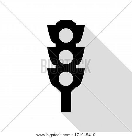 Traffic light sign. Black icon with flat style shadow path.