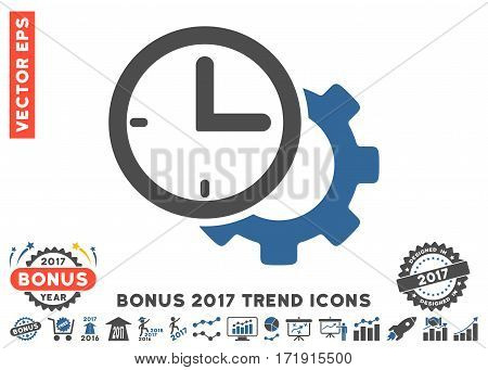 Cobalt And Gray Time Setup Gear pictogram with bonus 2017 year trend images. Vector illustration style is flat iconic bicolor symbols white background.