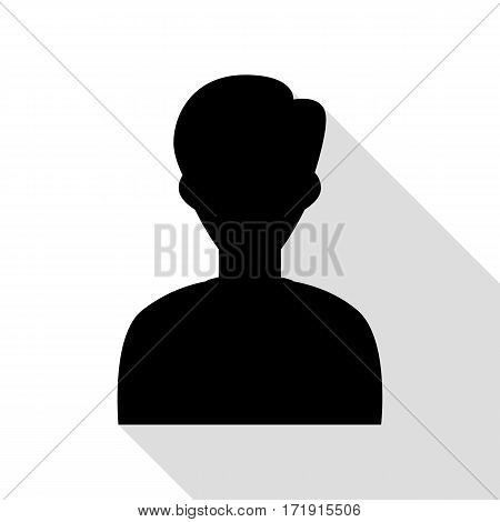 User avatar illustration. Anonymous sign. Black icon with flat style shadow path.