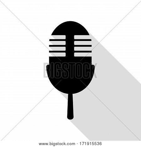 Retro microphone sign. Black icon with flat style shadow path.