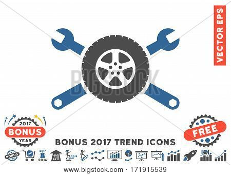 Cobalt And Gray Tire Service Wrenches icon with bonus 2017 trend symbols. Vector illustration style is flat iconic bicolor symbols white background.