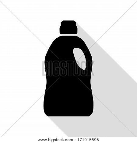 Plastic bottle for cleaning. Black icon with flat style shadow path.