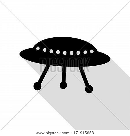 UFO simple sign. Black icon with flat style shadow path.