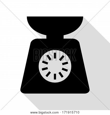 Kitchen scales sign. Black icon with flat style shadow path.