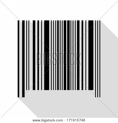 Bar code sign. Black icon with flat style shadow path.