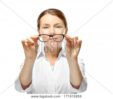 Young woman with spectacles on white background