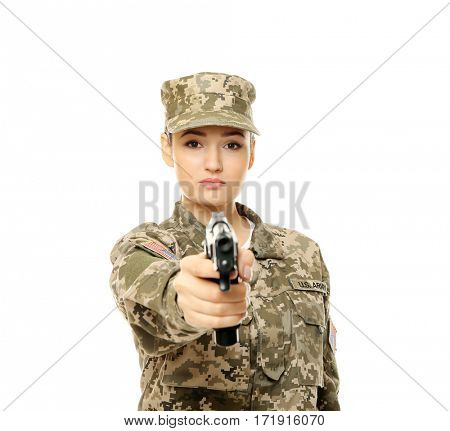 Pretty female soldier with pistol on white background